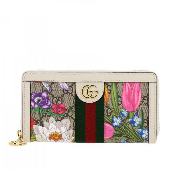 Portafoglio Flora Gucci in pelle GG Supreme con monogramma