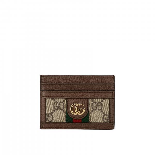 Porta carte di credito Ophidia Gucci in pelle e tela GG Supreme