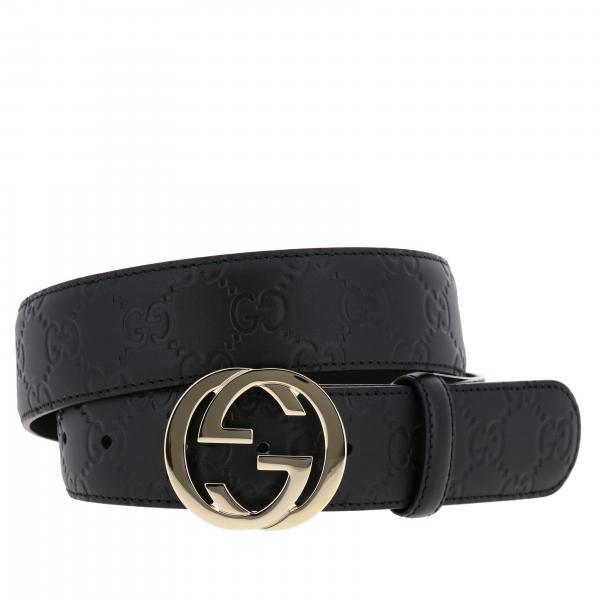 Cintura Gucci in pelle con fibbia GG e logo impresso all over