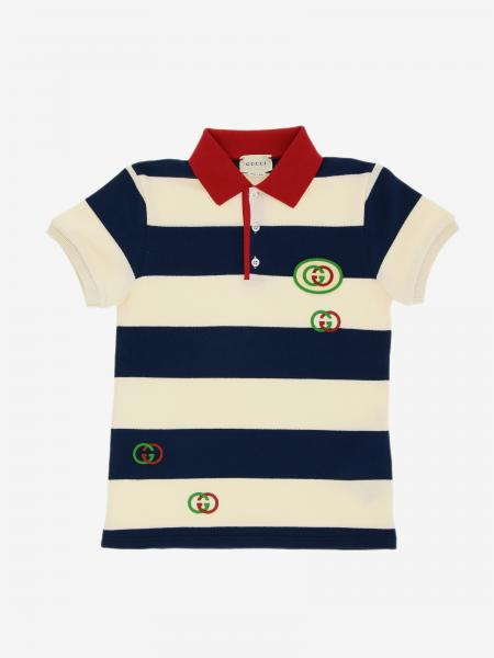 Polo Gucci in cotone piquet a righe con patch logo GG