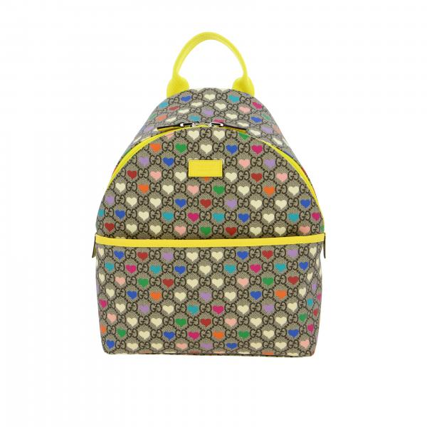 Zaino Gucci in pelle GG Supreme con cuori all over