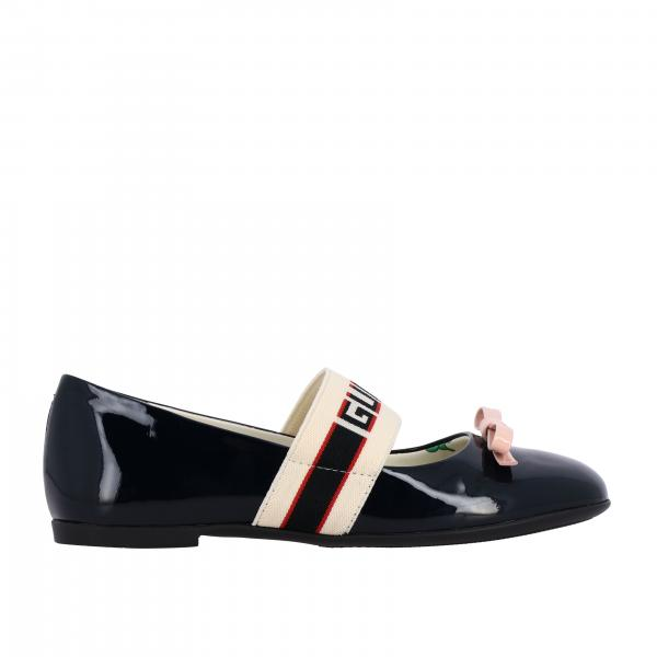 Gucci Mimi patent leather ballet flat with Gucci Sport band and bow