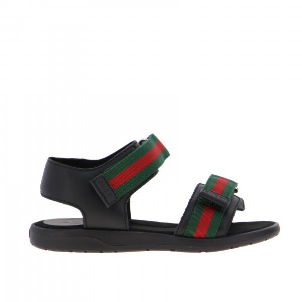 Gucci Gaufrette sandal with Gucci Web strap buckles