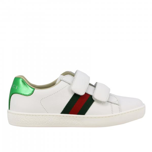 Baskets Gucci New Ace en cuir avec bandes Web