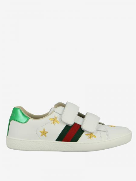 Baskets Gucci New Ace en cuir avec boucles à bandes velcro