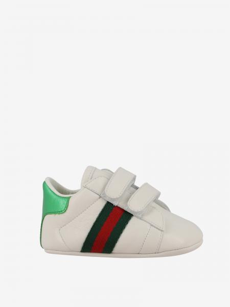 Gucci leather sneakers with web bands