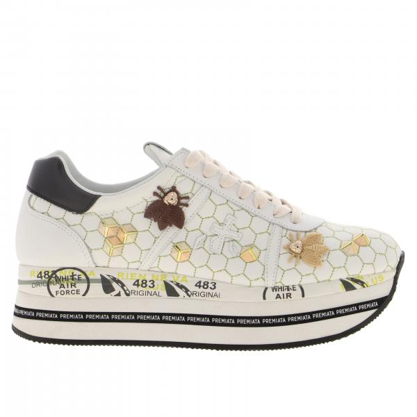 Baskets Beth Premiata en cuir avec applications et broderies