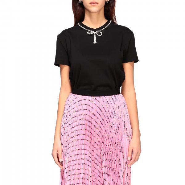 T-shirt Miu Miu a maniche corte con fiocco di perle