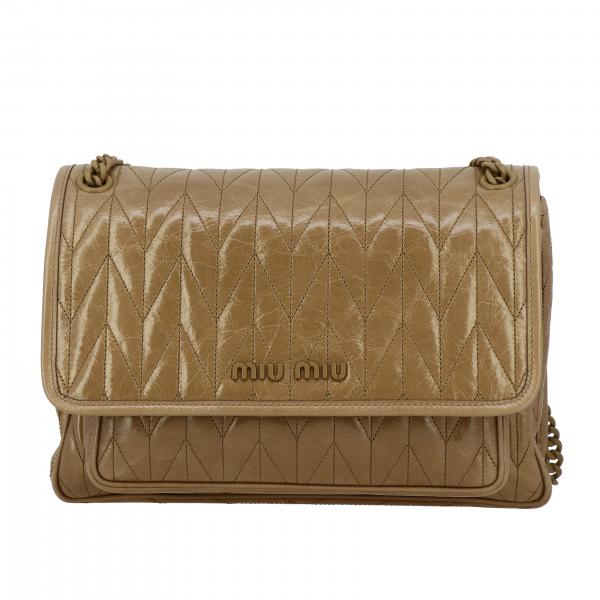 Miu Miu shoulder bag in quilted leather with monochrome logo