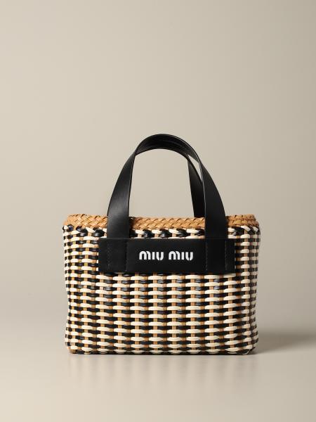 Miu Miu handbag in raffia and woven leather