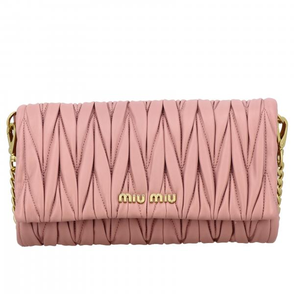 Miu Miu shoulder bag in matellasé leather with logo