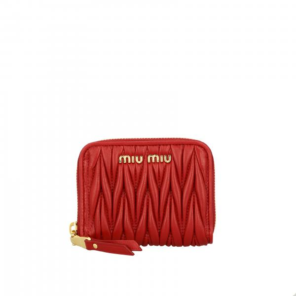 Miu Miu wallet in matelassé leather with logo