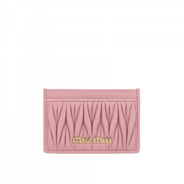 Porta carte di credito Miu Miu in pelle matelassé