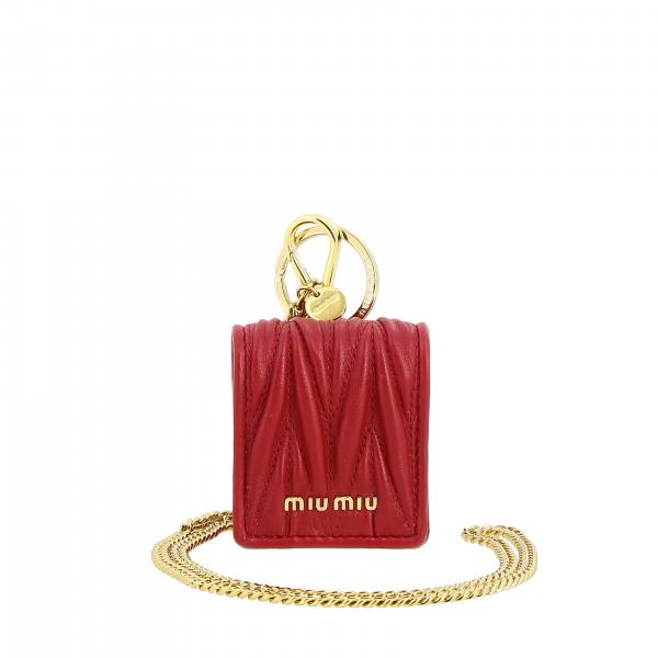 Miu Miu airpod holder in matelassé leather