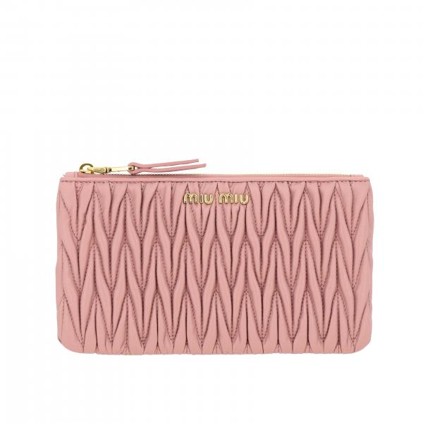 Miu Miu clutch in matelassé leather with logo