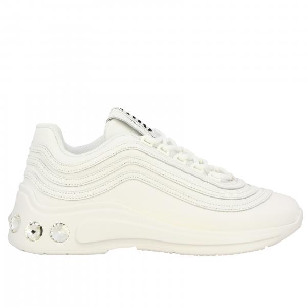 Miu Miu sneakers in leather with rhinestones