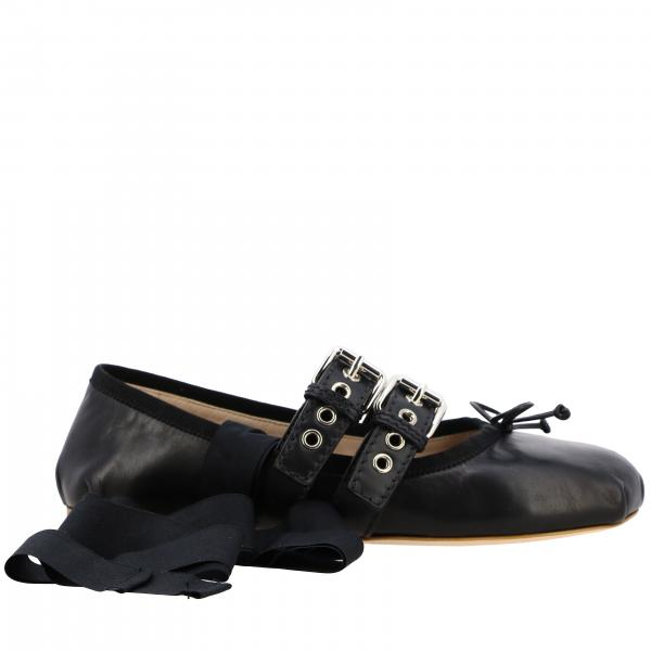 Miu Miu ballet flats in leather with vichy ribbons and buckles