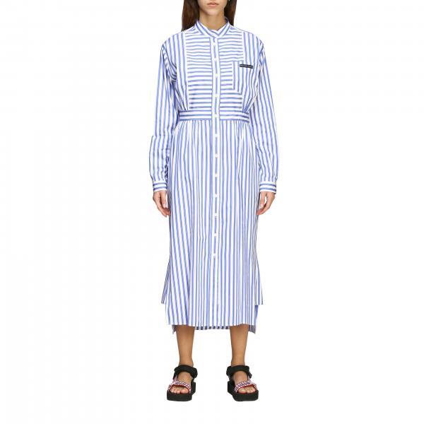Prada Midi Kleid aus Popeline mit Logo