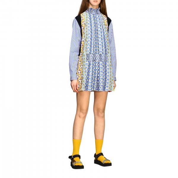 Mini Prada Kleid aus Popeline und Seide mit Blumen Print