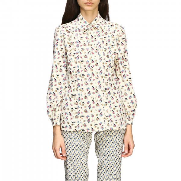 Prada Hemd aus Crêpe de Chine mit Schwalben Print