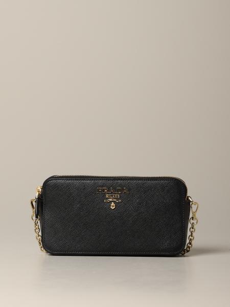 Мини-сумка с двойной молнией с логотипом Женское Prada