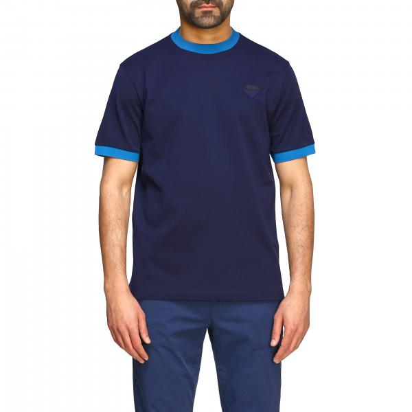 T-shirt Prada in cotone a girocollo con logo triangolare