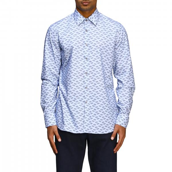 Prada shirt with Italian collar and voyage print