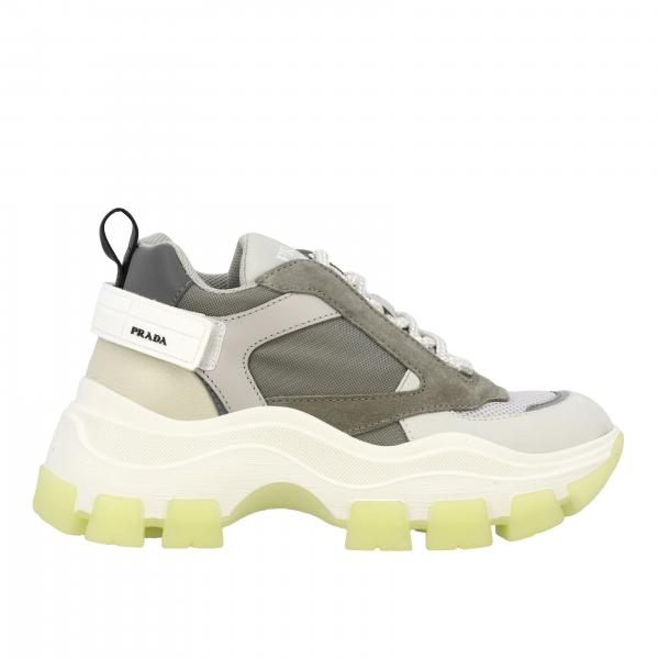 New chunky Prada sneakers in suede leather and mesh