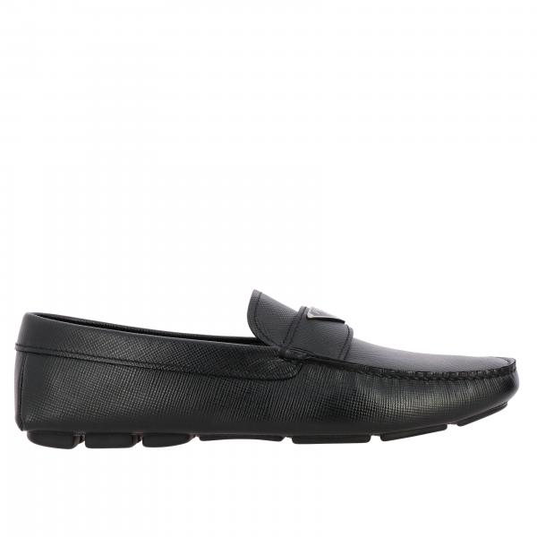 Drive Prada loafer in Saffiano leather with triangular logo