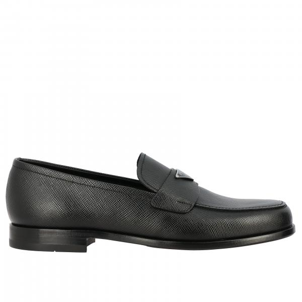 Prada loafer in micro textured leather with triangular logo