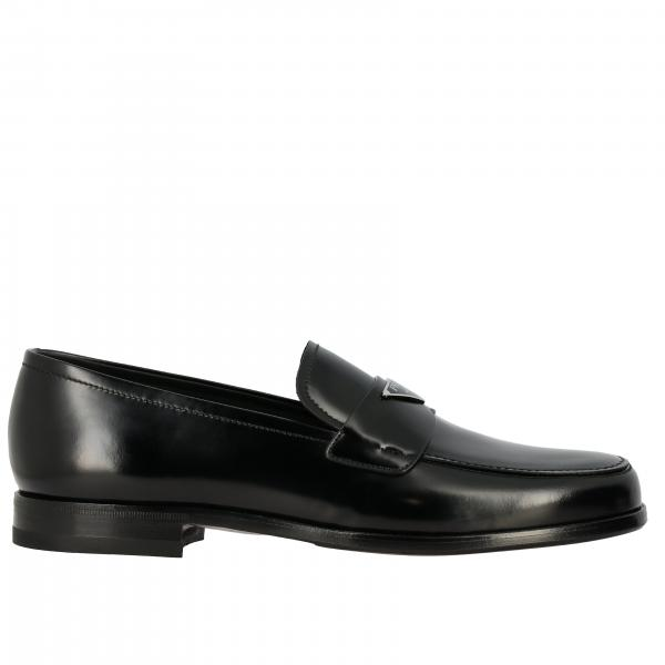 Prada leather loafer with triangular logo