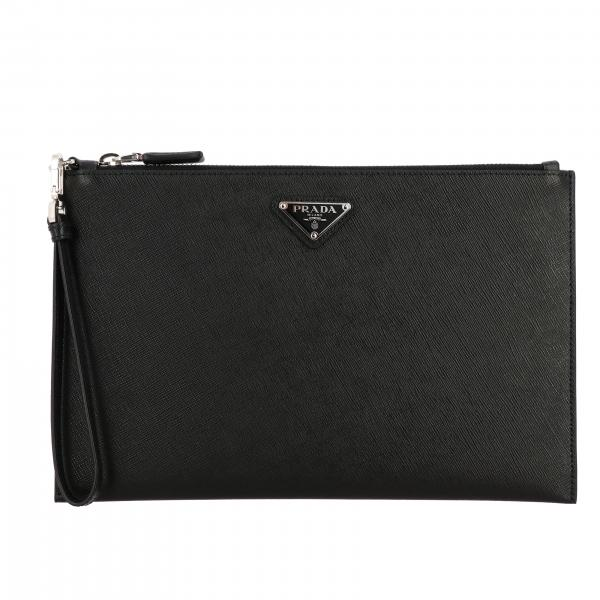 Prada wrist clutch in Saffiano leather with triangular logo