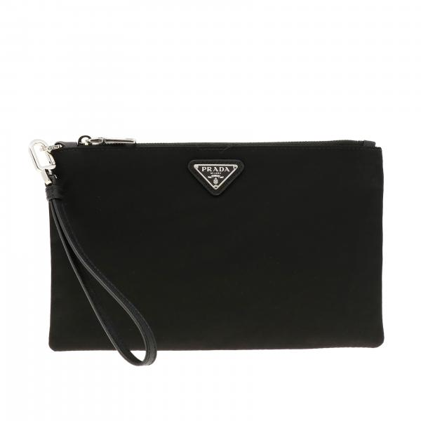 Mini Prada clutch bag in nylon and leather with triangular logo