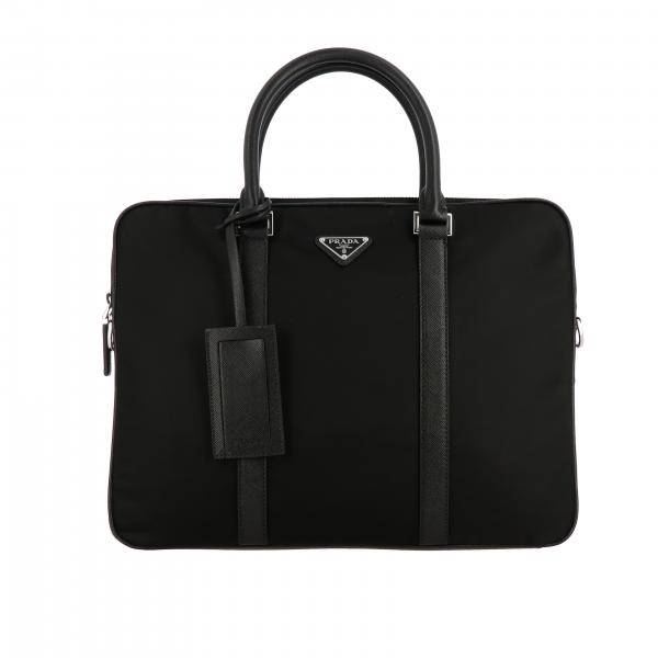 Prada briefcase in nylon and Saffiano leather with logo