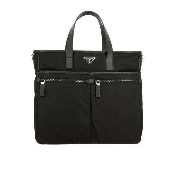 Borsa shopping Prada in nylon con logo triangolare