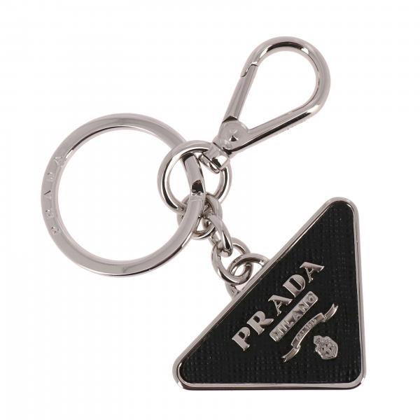 Dreieckiger Prada Schlüsselanhänger aus Metall und Saffiano Leder