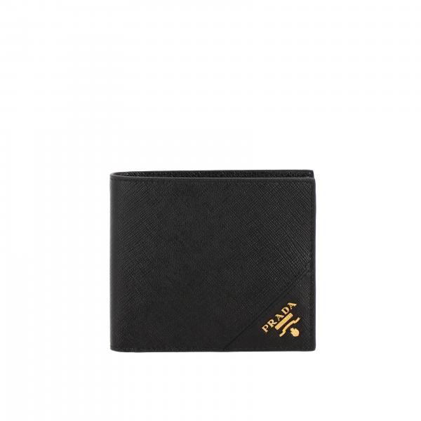 Prada logo装饰saffiano真皮钱包