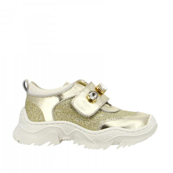 Monnalisa sneakers in laminated leather and glitter with rhinestones