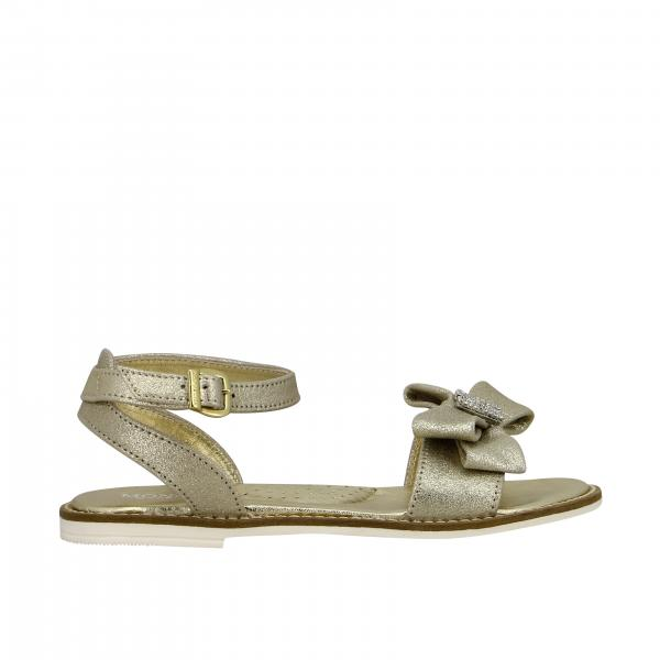 Monnalisa sandal in laminated leather with bow and rhinestones