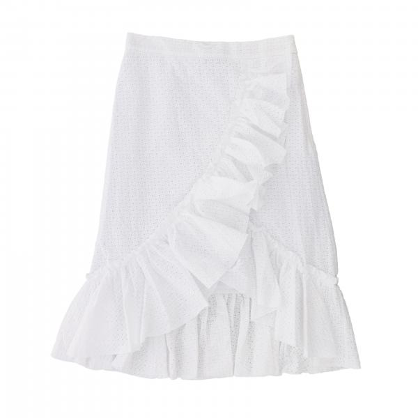 Monnalisa skirt in hand-woven cotton with ruffles