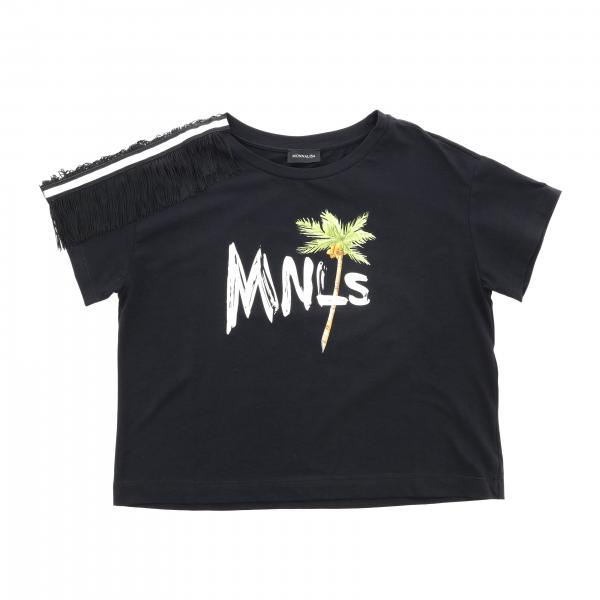 Monnalisa cropped t-shirt with short sleeves and mnls print