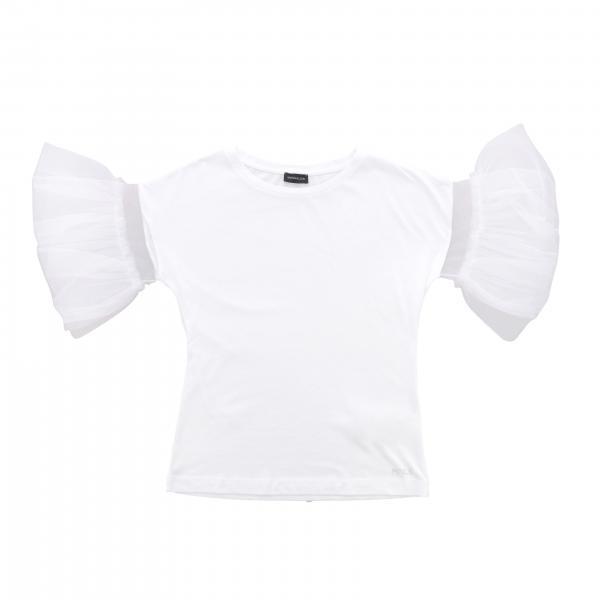 T-shirt Monnalisa con maniche a balze in tulle