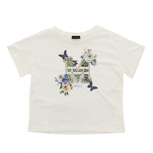 Monnalisa 水钻装饰M印花短袖T恤
