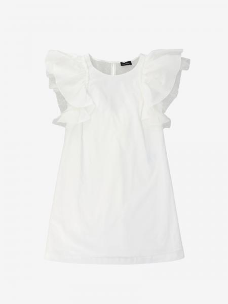 Robe Monnalisa en popeline avec rouches en tulle point d'esprit