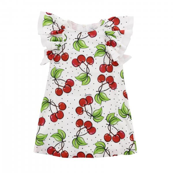 Monnalisa cotton dress with cherry print