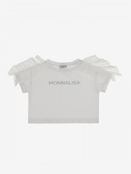 T-shirt Monnalisa con logo di strass e rouches