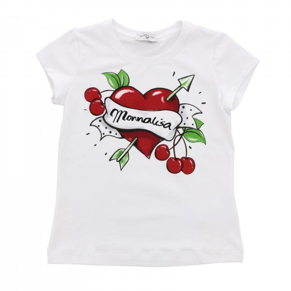 Monnalisa short-sleeved T-shirt with heart and cherries print