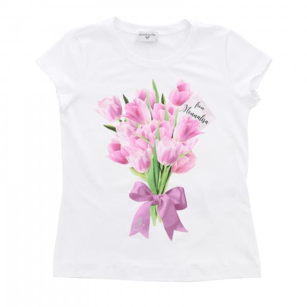 T-shirt Monnalisa a maniche corte con stampa floreale