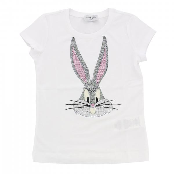 Monnalisa short-sleeved T-shirt with bugs bunny print and rhinestones