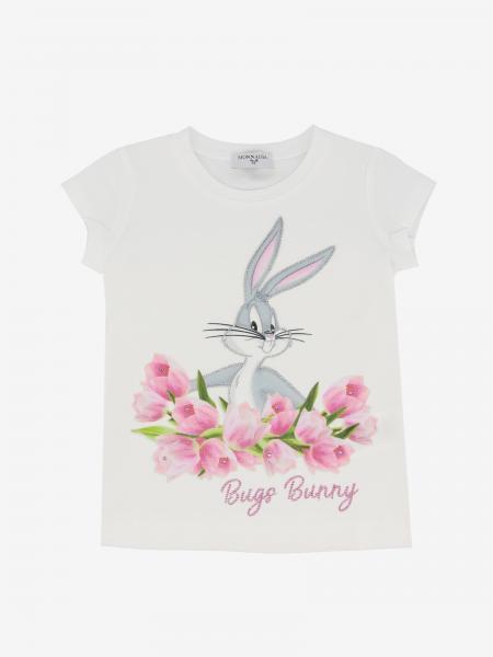 T-shirt Monnalisa con stampa bugs bunny e strass